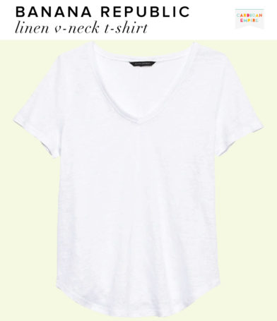 Banana Republic White Linen V-Neck T-Shirt