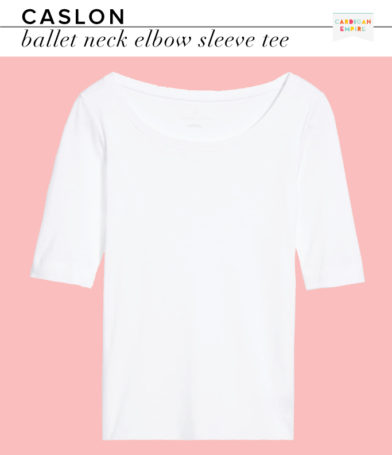 Caslon Ballet Neck Elbow Sleeve White Tee