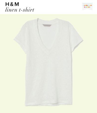 H&M White Linen T-Shirt